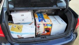 The U.S. Border Patrol photographed the boxes it says carried $3 million in the trunk of a Volkswagen Passat