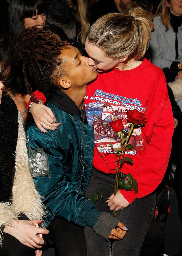 NEW YORK, NY - FEBRUARY 14: Jaden Smith gives his girlfriend Sarah Snyder a kiss at the Hood By Air 2016 fashion show on February 14, 2016 in New York City. (Photo by Paul Morigi/WireImage)