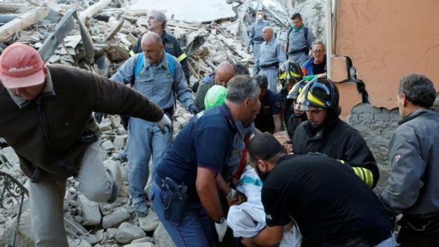 Rescuers poured into Amatrice to search for survivors