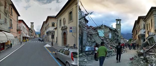 These pictures show the main street in Amatrice before and after the quake