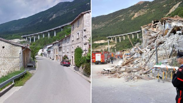 These images show the hamlet of Pescara del Tronto before and after the quake