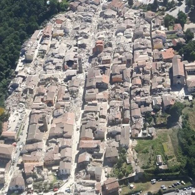 An aerial photo of Amatrice showed the scale of the damage