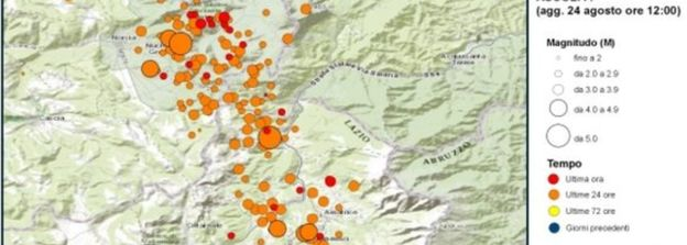 A map from Italy's national geophysics institute showed the large number of aftershocks on Wednesday