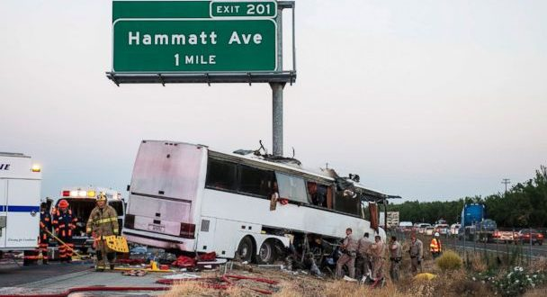 At Least 5 Killed in Tour Bus Accident on Highway 99 in Merced County, California