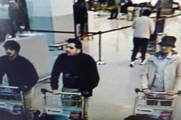 A CCTV image from the Brussels Zaventem Airport surveillance cameras shows the attackers