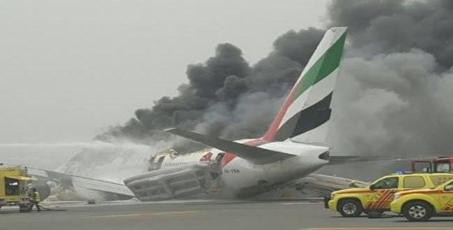 Emirates Plane Catches Fire After Crash Landing at Dubai International Airport