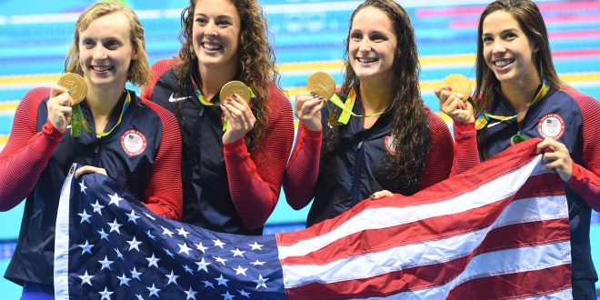 Katie Ledecky Leads Team USA to Gold in 4×200-Meter Freestyle Relay