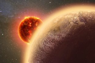 """Cambridge, MA - The distant planet GJ 1132b intrigued astronomers when it was discovered last year. Located just 39 light-years from Earth, it might have an atmosphere despite being baked to a temperature of around 450 degrees Fahrenheit. But would that atmosphere be thick and soupy or thin and wispy? New research suggests the latter is much more likely. Harvard astronomer Laura Schaefer (Harvard-Smithsonian Center for Astrophysics, or CfA) and her colleagues examined the question of what would happen to GJ 1132b over time if it began with a steamy, water-rich atmosphere. Orbiting so close to its star, at a distance of just 1.4 million miles, the planet is flooded with ultraviolet or UV light. UV light breaks apart water molecules into hydrogen and oxygen, both of which then can be lost into space. However, since hydrogen is lighter it escapes more readily, while oxygen lingers behind. """"On cooler planets, oxygen could be a sign of alien life and habitability. But on a hot planet like GJ 1132b, it's a sign of the exact opposite - a planet that's being baked and sterilized,"""" said Schaefer. Since water vapor is a greenhouse gas, the planet would have a strong greenhouse effect, amplifying the star's already intense heat. As a result, its surface could stay molten for millions of years. A """"magma ocean"""" would interact with the atmosphere, absorbing some of the oxygen, but how much? Only about one-tenth, according to the model created by Schaefer and her colleagues. Most of the remaining 90 percent of leftover oxygen streams off into space, however some might linger. """"This planet might be the first time we detect oxygen on a rocky planet outside the solar system,"""" said co-author Robin Wordsworth (Harvard Paulson School of Engineering and Applied Sciences). If any oxygen does still cling to GJ 1132b, next-generation telescopes like the Giant Magellan Telescope and James Webb Space Telescope may be able to detect and analyze it. The magma ocean-atmosphere model could help s"""