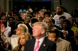 Seeking Support and Invoking Faith, Donald Trump Visits a Black Church for the First Time