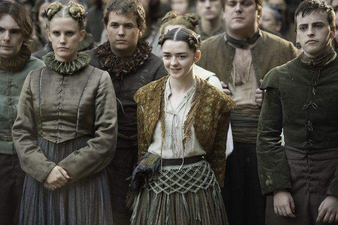 "Maisie Williams, center, in ""Game of Thrones."" Ms. Williams was nominated for outstanding supporting actress in a drama series for her role as Arya Stark."