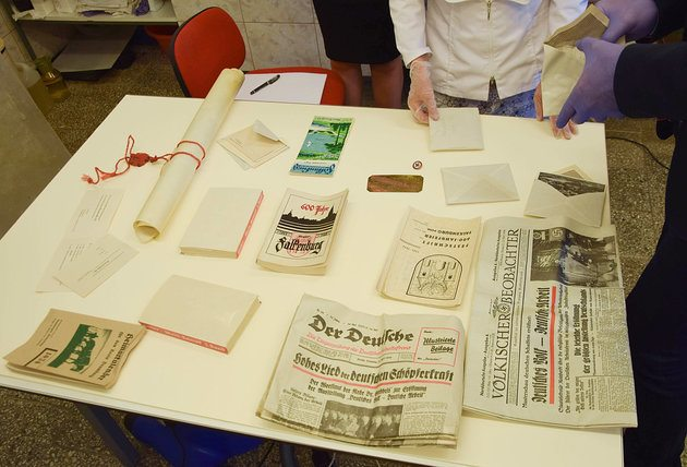 Contents of the Nazi time capsule on display.