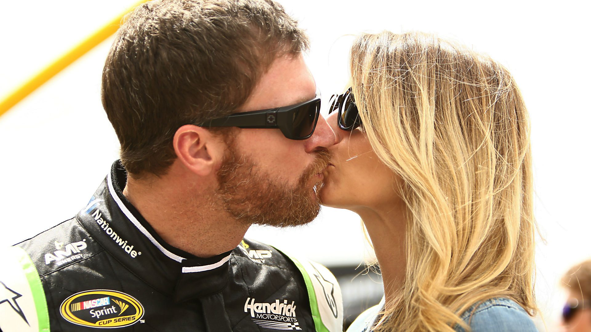 Dale Earnhardt Jr. and fiancee Amy Reimann. (Getty Images)