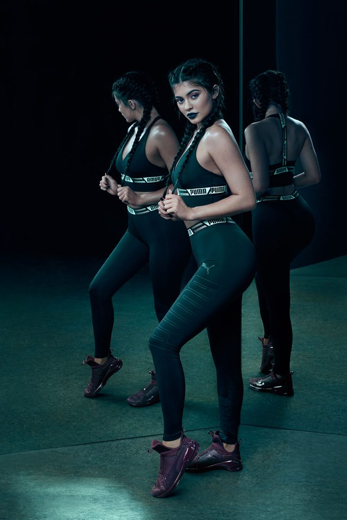 Kylie Jenner wearing the Puma Fierce KRM trainers. Courtesy of Puma.