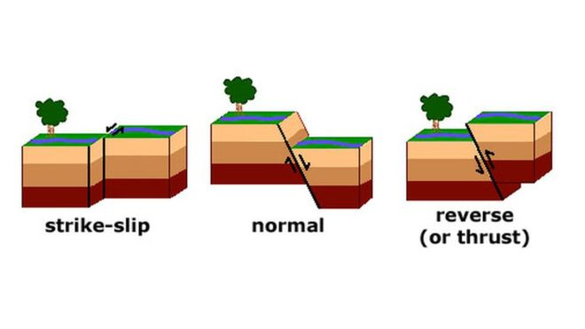 Earthquakes are caused by a sudden slip on a fault, the fractures in Earth's crust. There are three types of faults: strike-slip, normal and reverse faults. These faults indicate different movements of rocks.