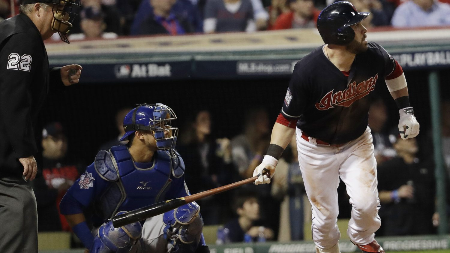 The Cleveland Indians' Jason Kipnis hits a home run during the fifth inning of Game 6 of the World Series. David J. Phillip/AP