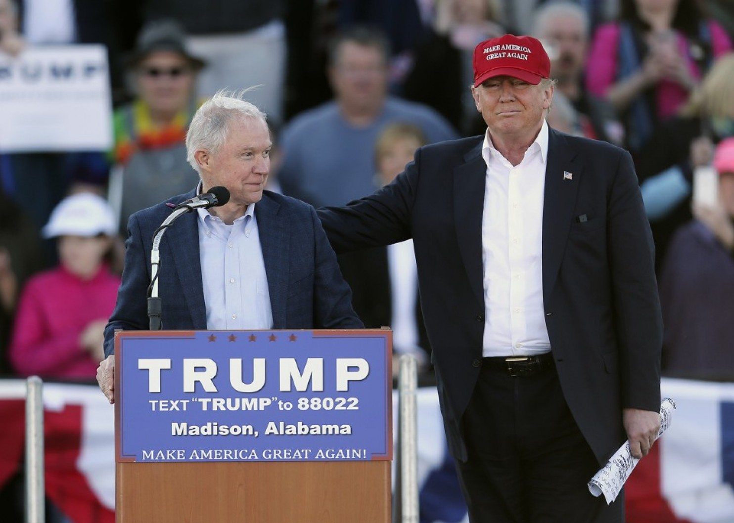 Sessions endorses Trump in February (John Bazemore/AP)