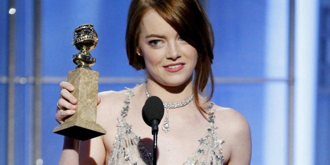Emma Stone Wins Her First Golden Globes Award for 'La La Land'