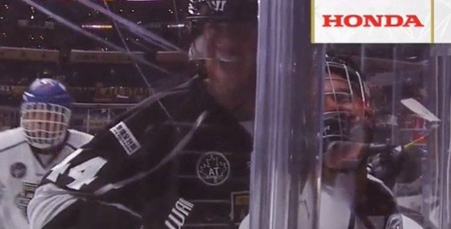 Watch: Justin Bieber Crushed into Glass by Chris Pronger in NHL Celebrity Shootout Game