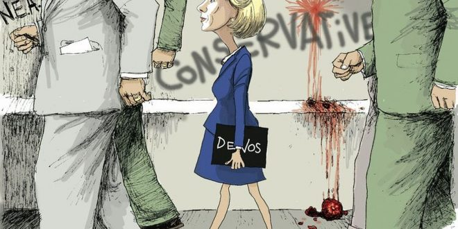 Social Media Erupts over Conservative Cartoonist's Portrayal of Betsy DeVos