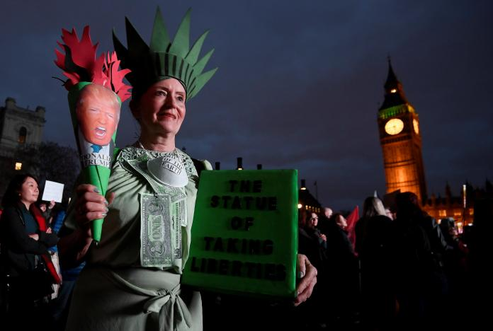 Trump Opponents Protest Outside UK Parliament as Lawmakers Debate Planned Visit