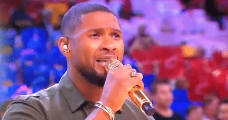 Usher Sings National Anthem Game 4 NBA Finals 2015