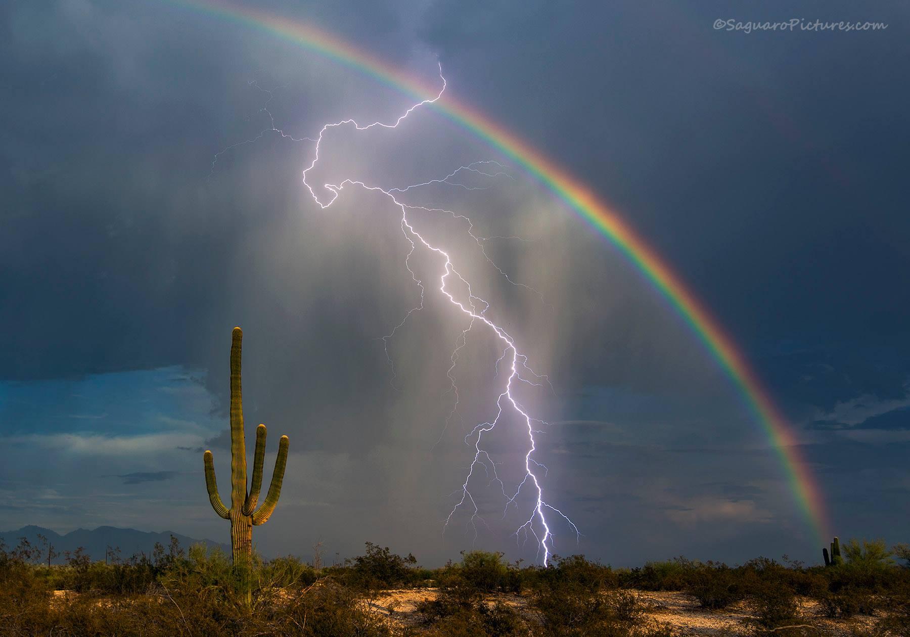 Lightning Bolt, Rainbow Captured in Dazzling Viral Photo