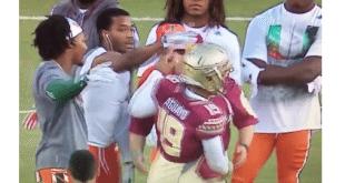 VIDEO Miami Hurricanes Players Angrily Confront FSU Kicker Roberto Aguayo Before Game
