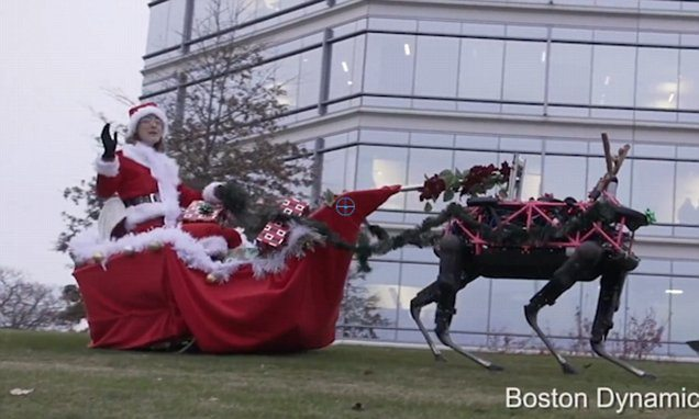 VIDEO Boston Dynamics: 4-Legged Robots Pulling Merry Christmas Sleigh