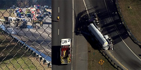 Truck Carrying Raw Sewage Overturns on Interstate 285 Ramp