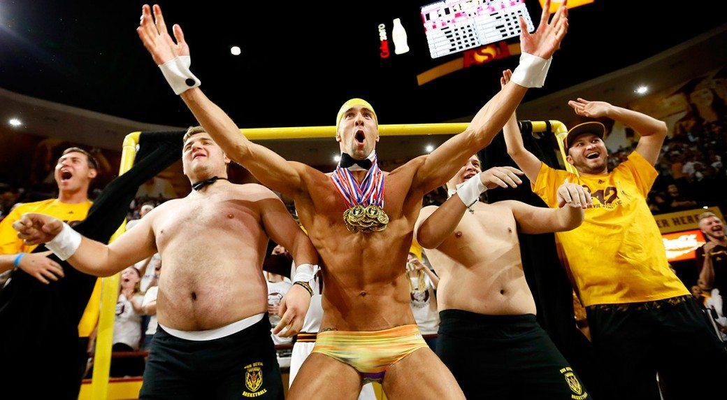 VIDEO Michael Phelps and His Speedo Distract FT Shooters at ASU Game