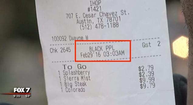 Austin, Texas, IHOP Server Writes 'BLACK PPL' on Customers Receipt For Takeout Order
