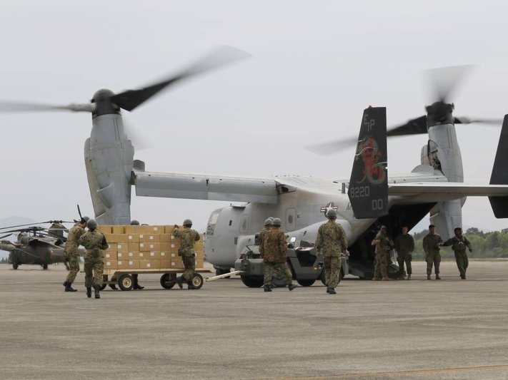 US Forces Delivers Aid After Earthquakes Kill 42 in Kyushu, Japan