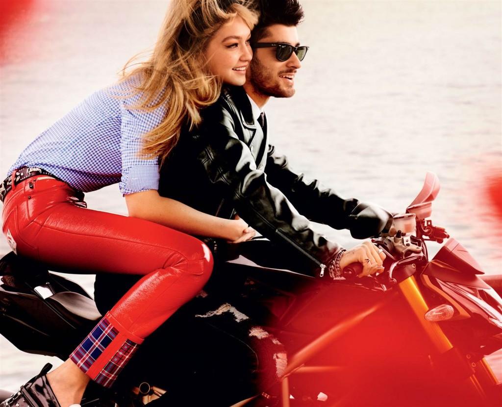 Mario Testino / Vogue Gigi: Miu Miu shirt, Marc Jacobs pants // Zayn: Gucci leather jacket, Ray-Ban sunglasses