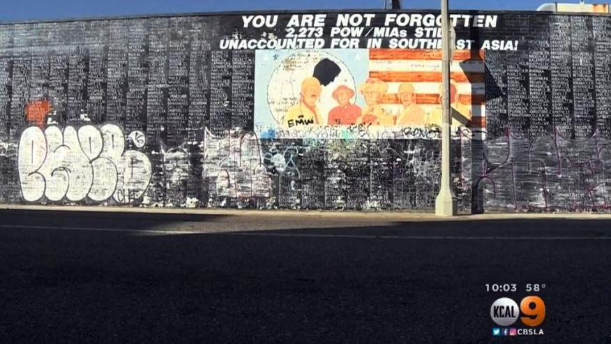 Venice, Los Angeles: Vietnam War Memorial Vandalized With Graffiti