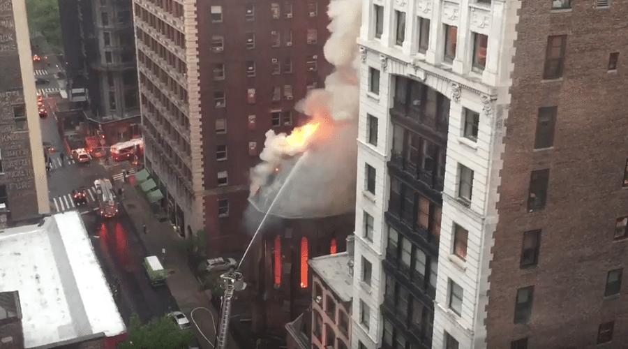 VIDEO Huge Blaze Devastates Serbian Orthodox Church in Manhattan