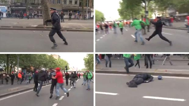 Video: Man KO'S Brussels Police Chief During Violent Protest