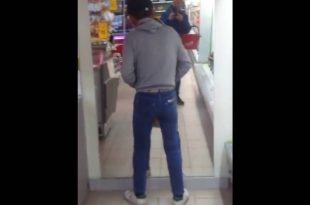 Hilarious Drunk Man Thinks His Reflection Is Someone Who's In His Way!
