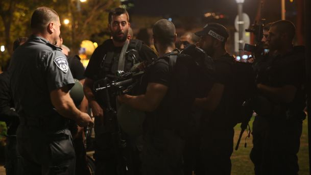 Police at the scene of the shooting in Sarona Market, Tel Aviv, Israel, June 8, 2016.